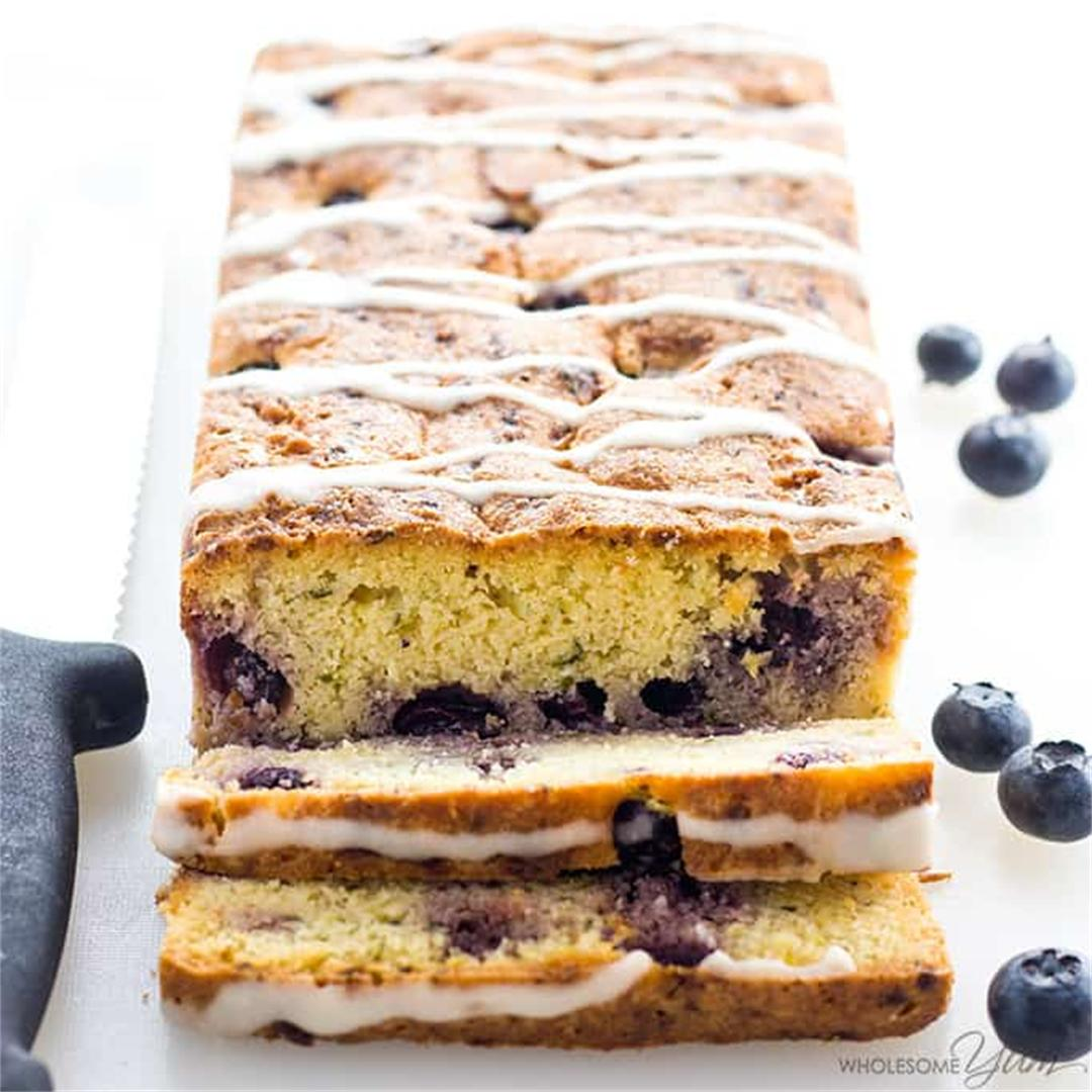 Blueberry Zucchini Bread With Lemon Glaze (Low Carb)