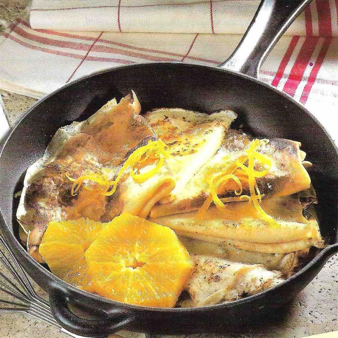 Flamed crepes with orange liqueur
