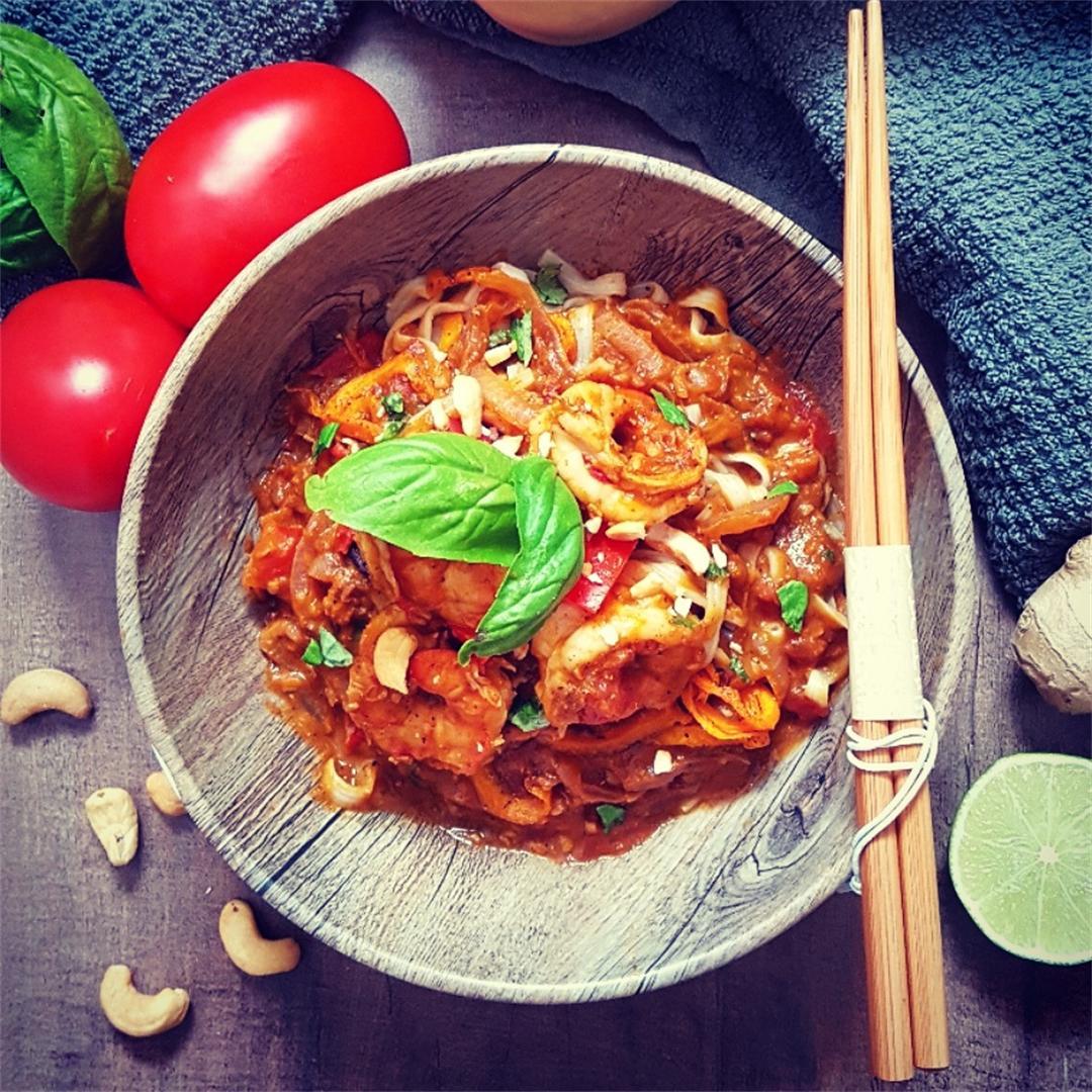 Curried Shrimp Squash Noodle Bowl