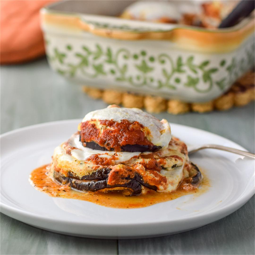 Healthy Stack of Eggplant Parmesan