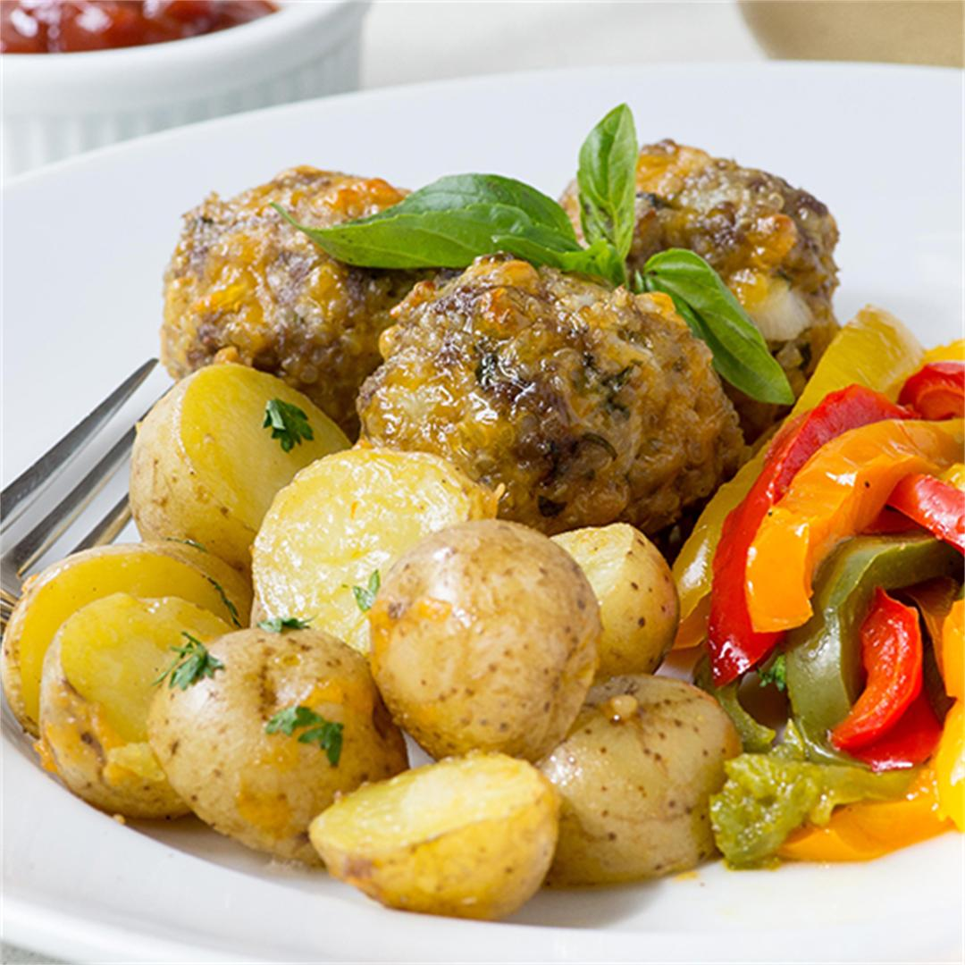 Basil Cheddar Quinoa Meatballs Sheet Pan Meal
