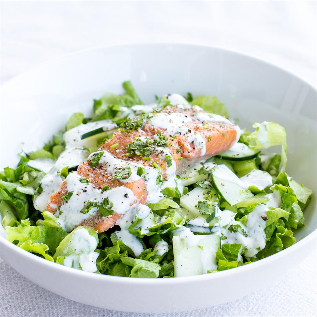 Smoked Salmon Salad with Citrus Yogurt Dressing