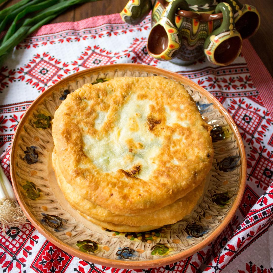 Fried pies with cheese and green onions