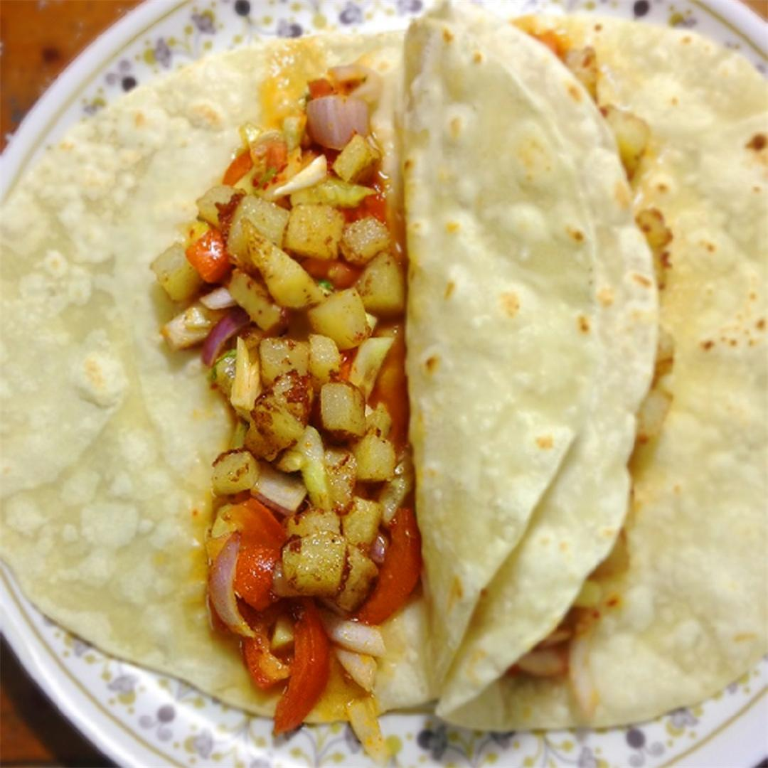 Potato tacos, delicious tacos with fried potatoes