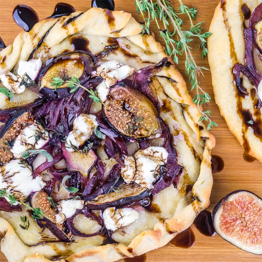 Caramelized Onion Fig & Goat Cheese Flatbread w/ Balsamic Glaze