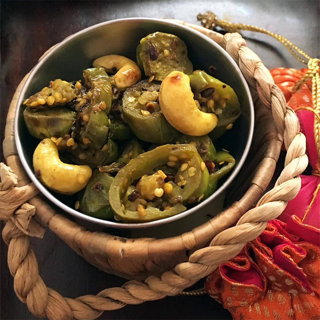 Green Eggplant with Cashews and Jaggery
