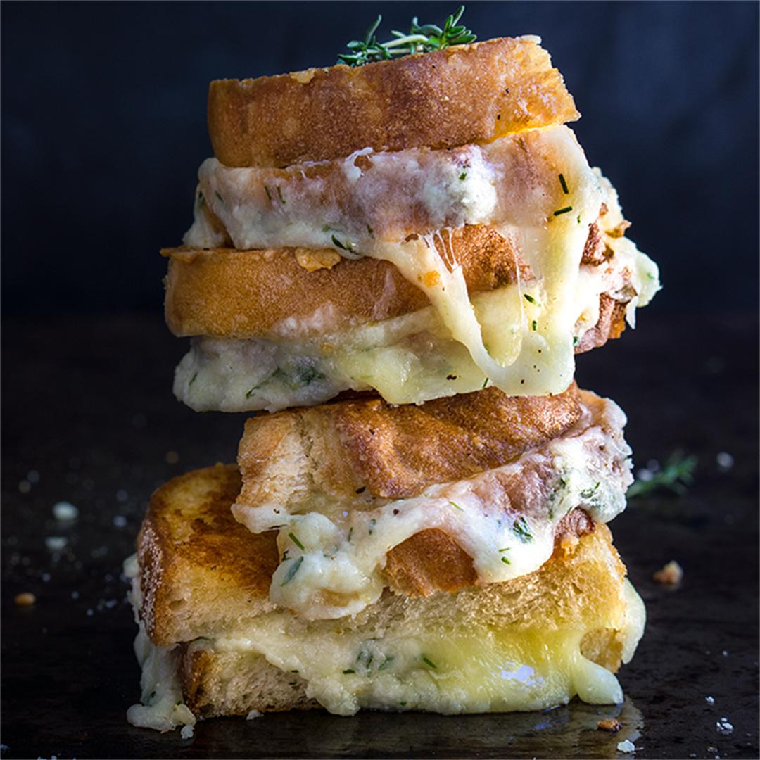 Garlic and herb loaded grilled cheese sandwich