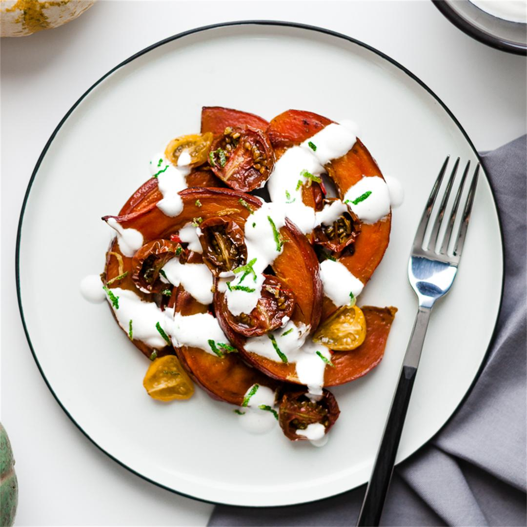 Butternut squash and ginger tomatoes with lime yoghurt.