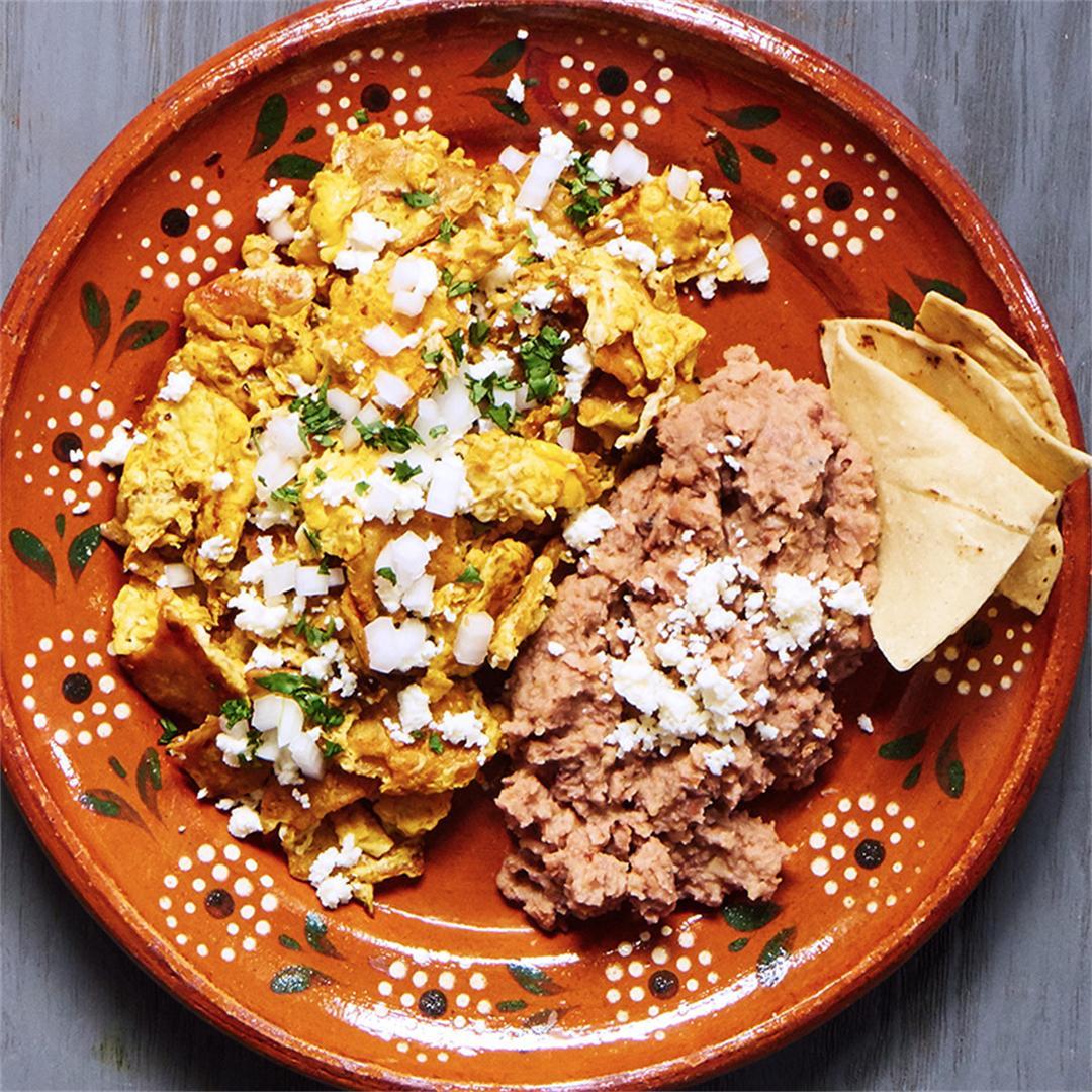 Migas - Scrambled Eggs, Tortillas, and Salsa