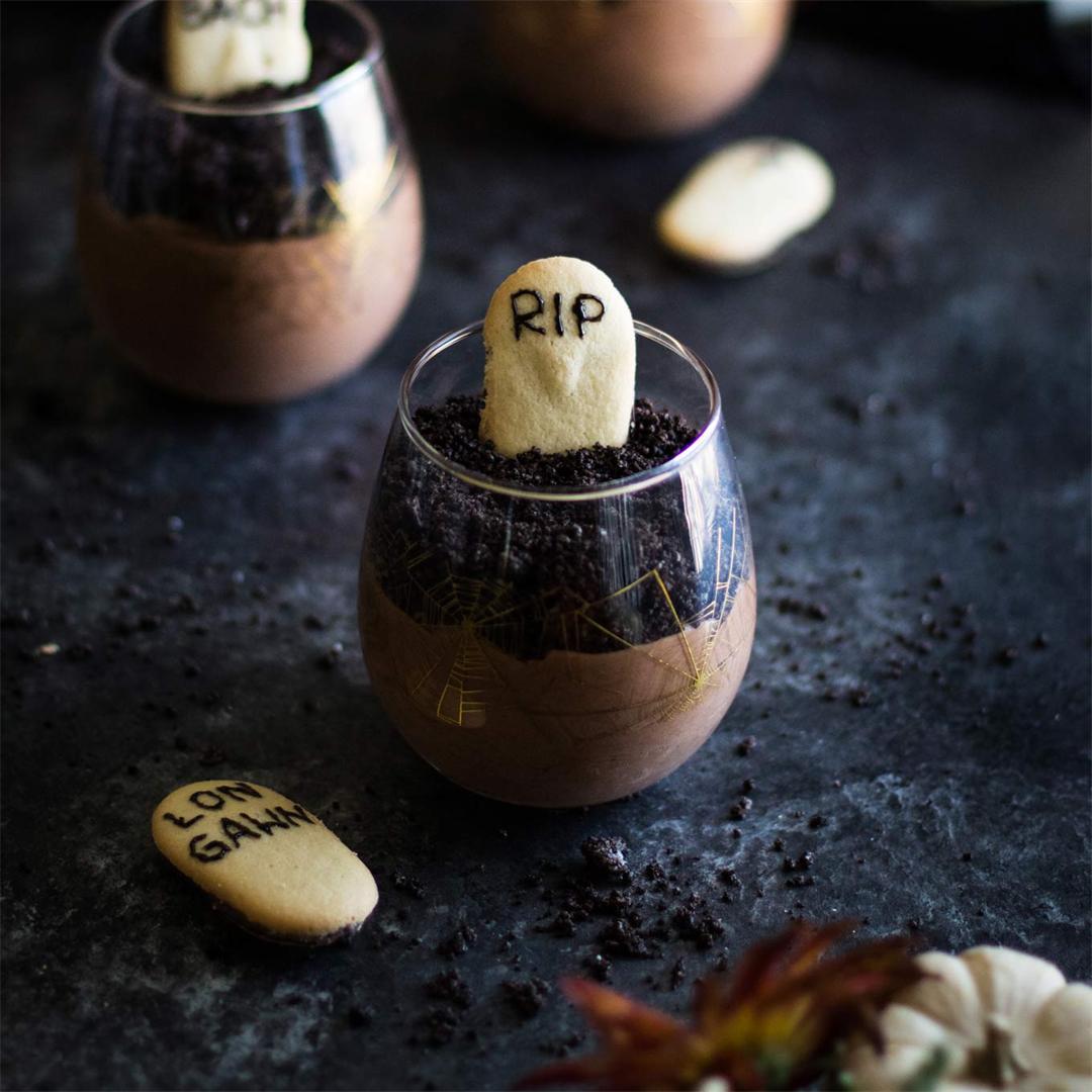 Grown Up Graveyard Chocolate Mousse - Halloween dessert!