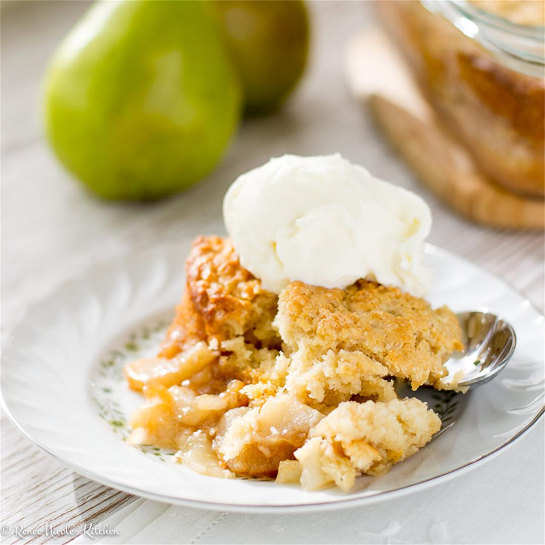 Spiced Pear Cobbler with Buttermilk Biscuit Top
