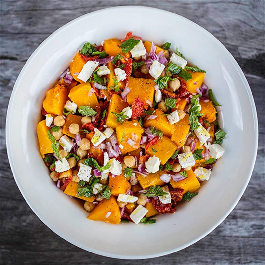 Pumpkin, Chickpea & Sundried Tomato Salad with Goats Feta