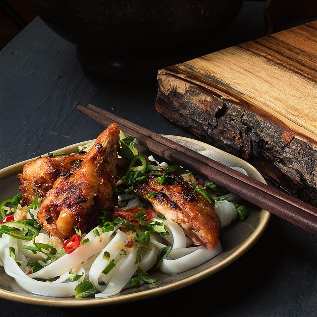 vietnamese grilled chicken with ginger soy noodles