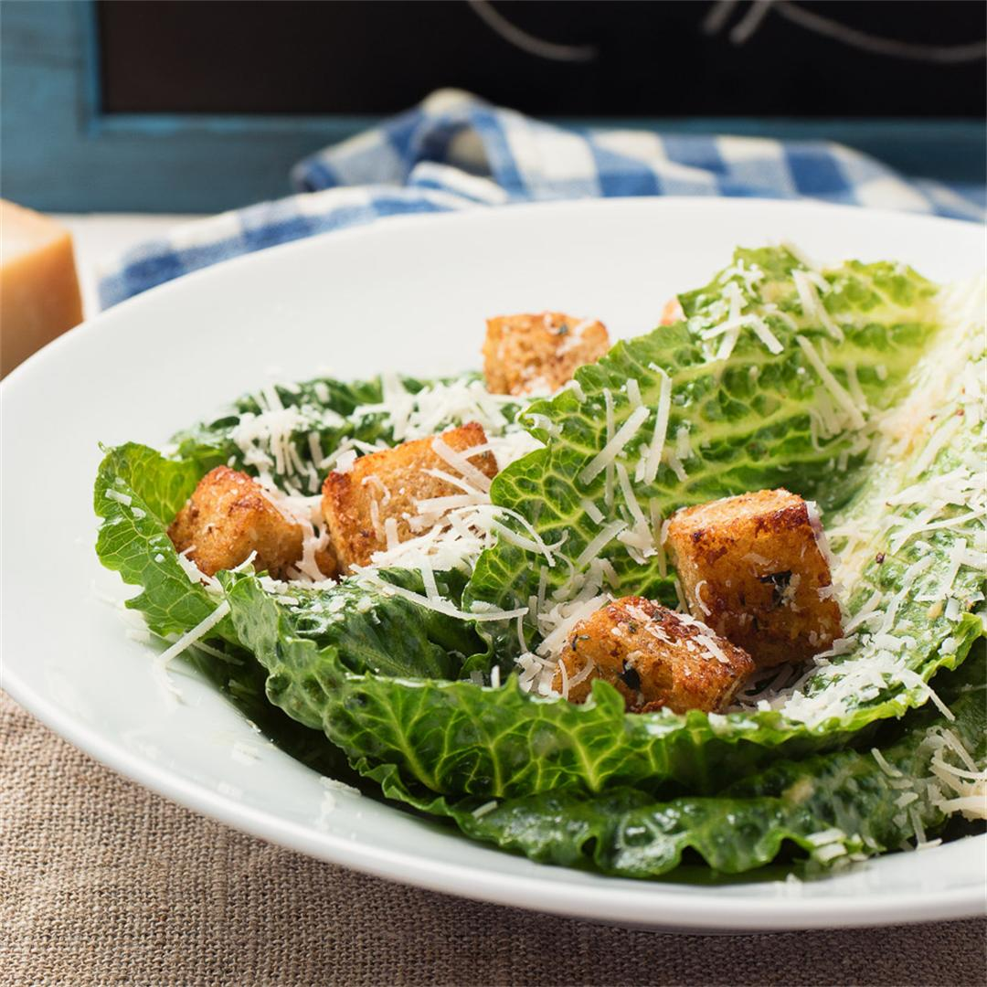scratch caesar salad with homemade croutons!