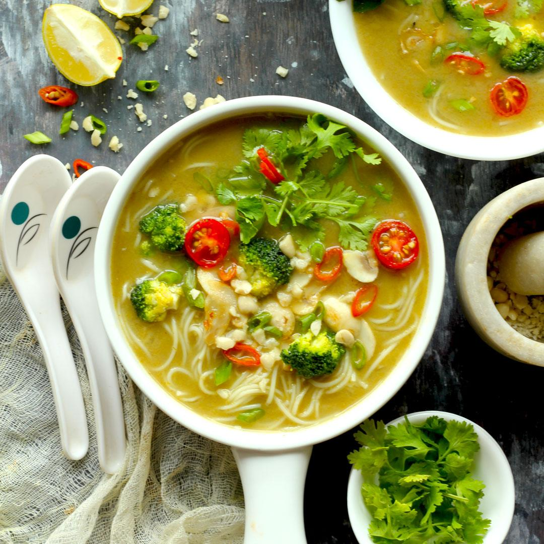 Vegan Thai Green Curry Soup