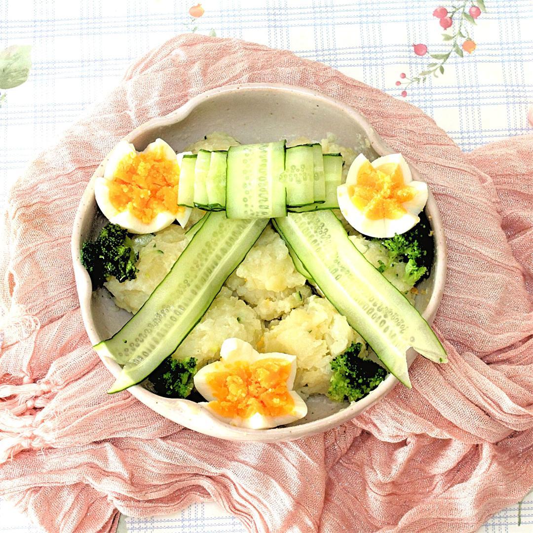 potato salad with cucumber ribbon