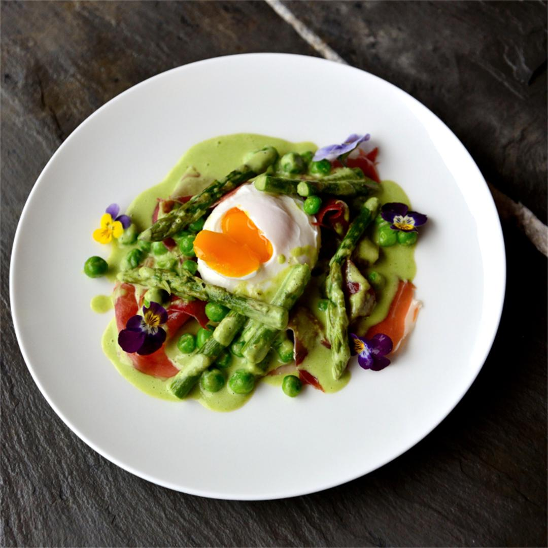 Poached Egg Crostini with Fresh Peas, Iberico Ham and Asparagus