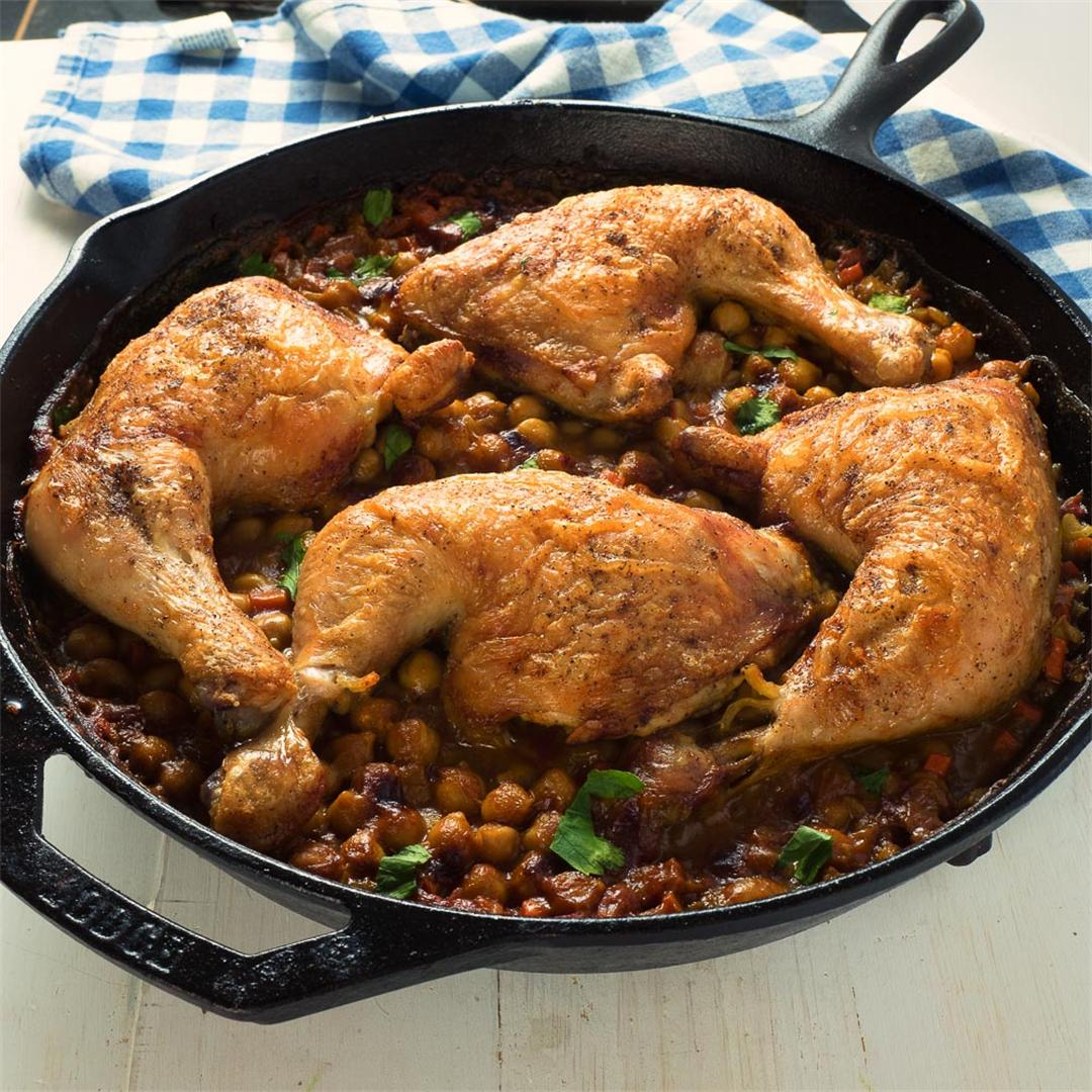 one skillet moroccan chicken with chickpeas