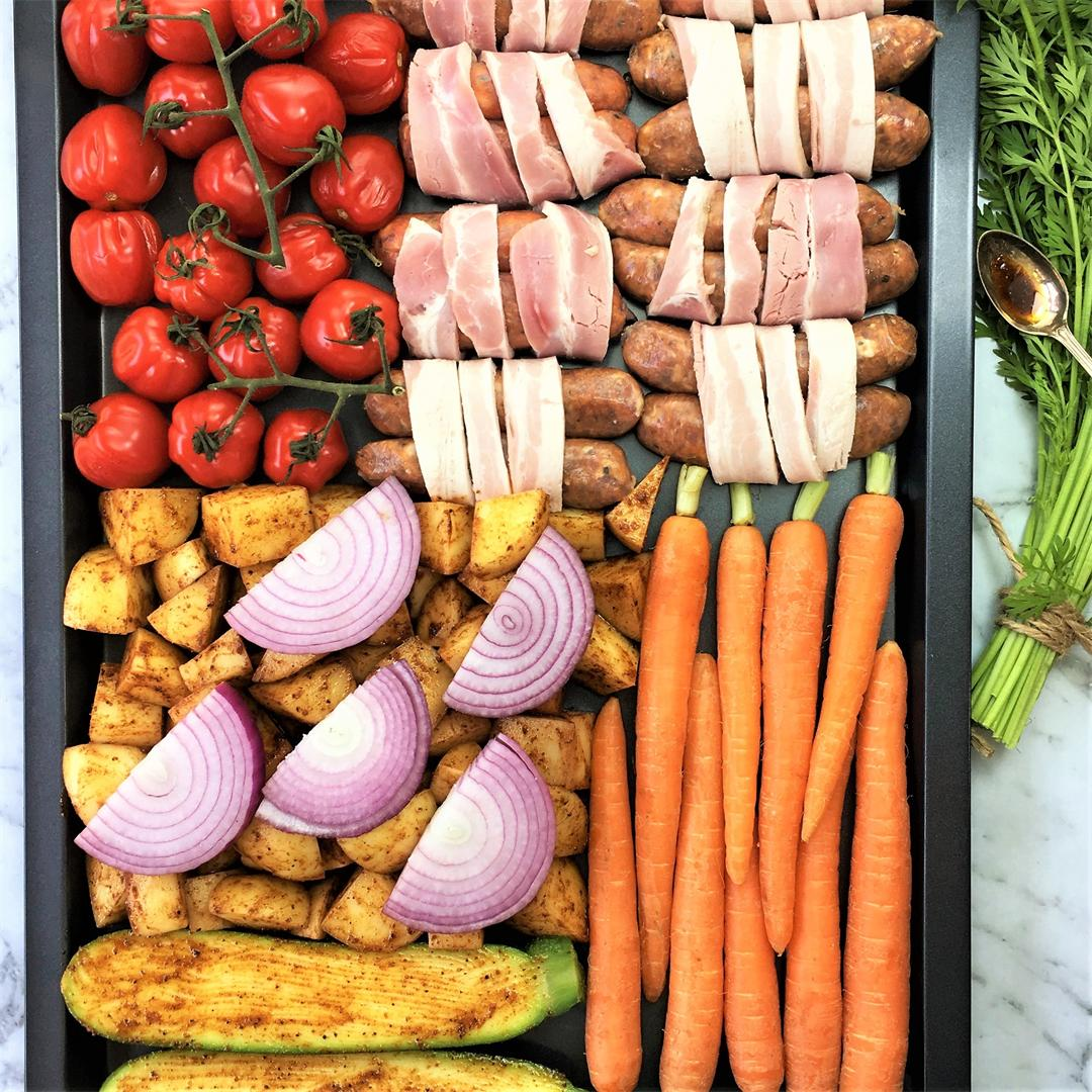 Sausage Tray Bake with Spiced Vegetables - Sheet Pan Dinner
