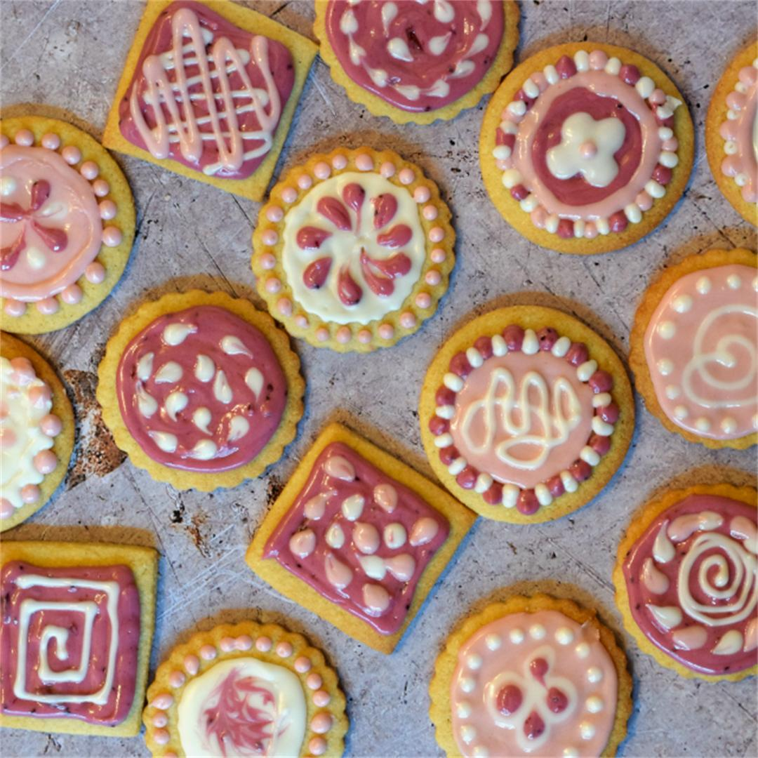 Iced Almond Biscuits, decorated with an additive free icing