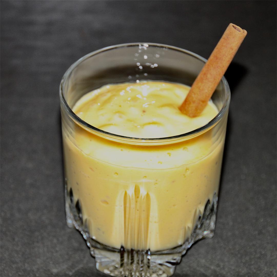 Mango lassi with saffron and cardamom