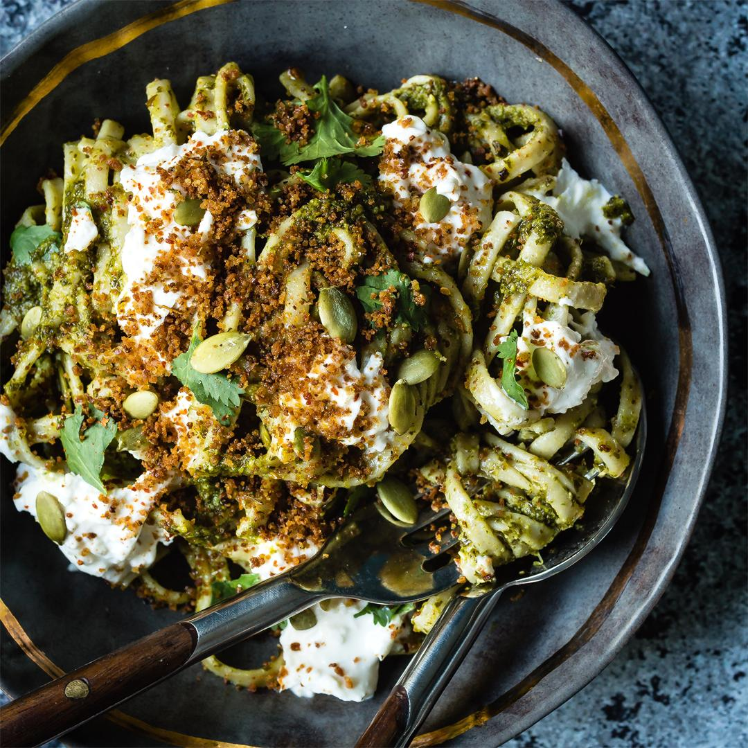 Linguine with Pumpkin Seed Kale Pesto