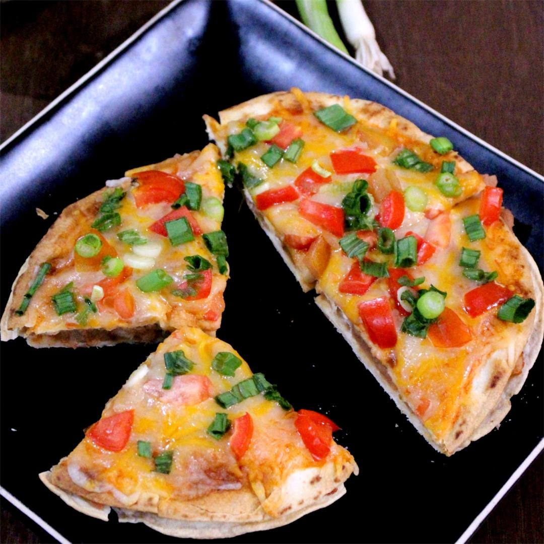 Mexican Pizza | Taco Bell Style Vegetarian Mexican Pizza