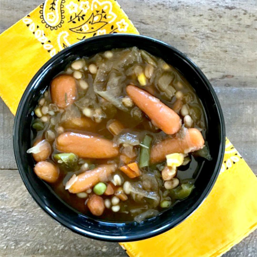 Tuscan Crockpot Veggie Beef Barley Soup