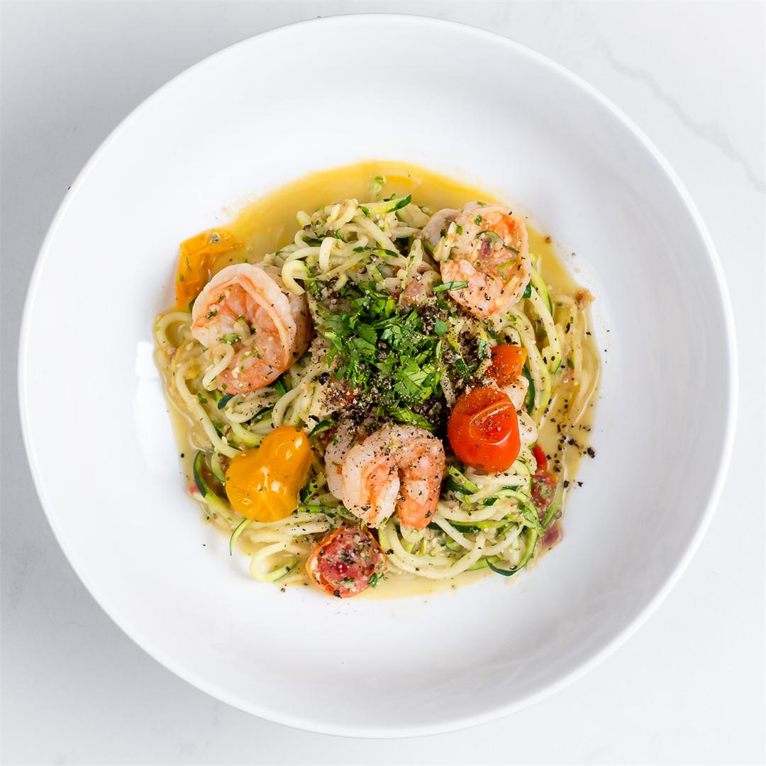 Pesto Shrimp Zoodles