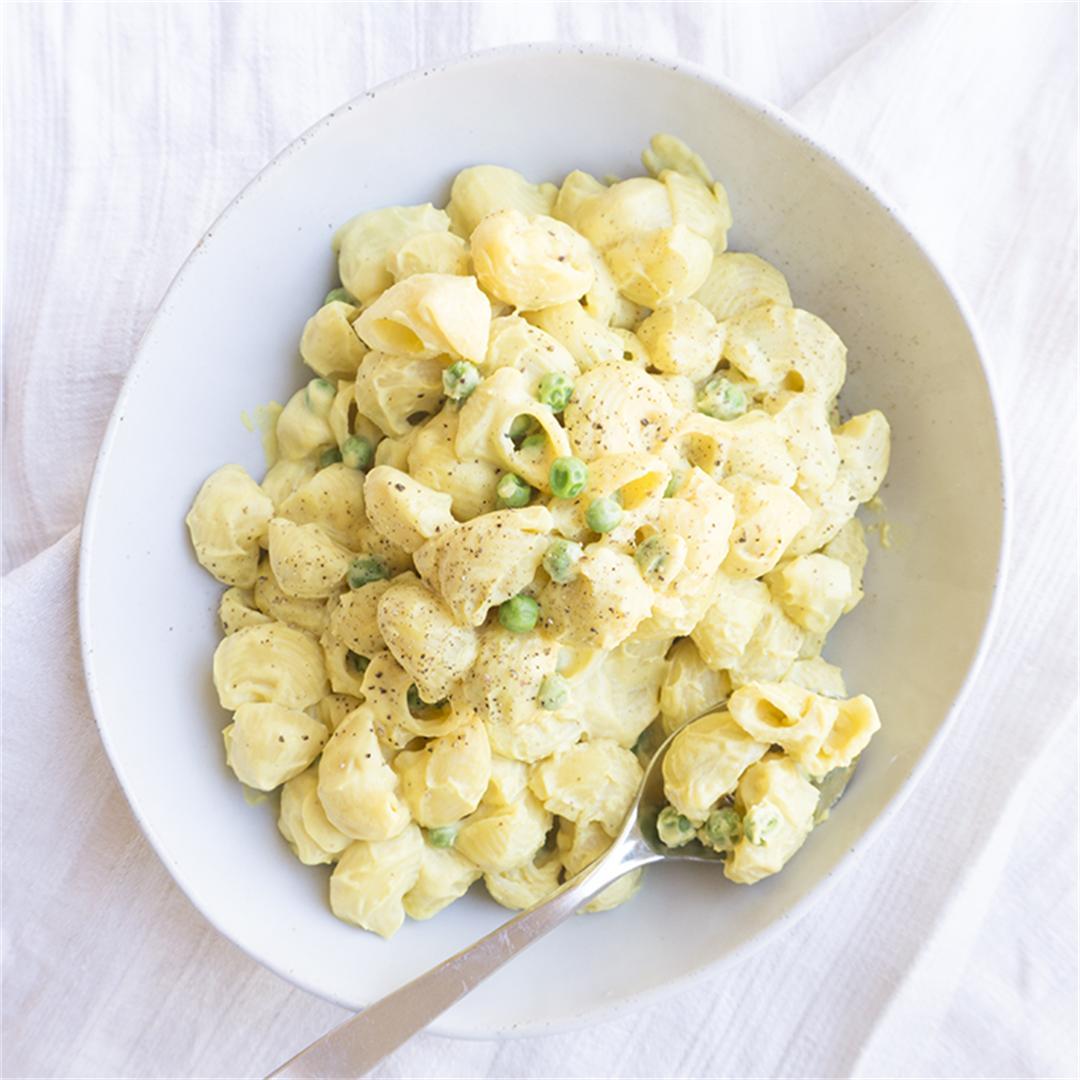 Creamy Vegan Pasta Sauce (Shells + Peas)