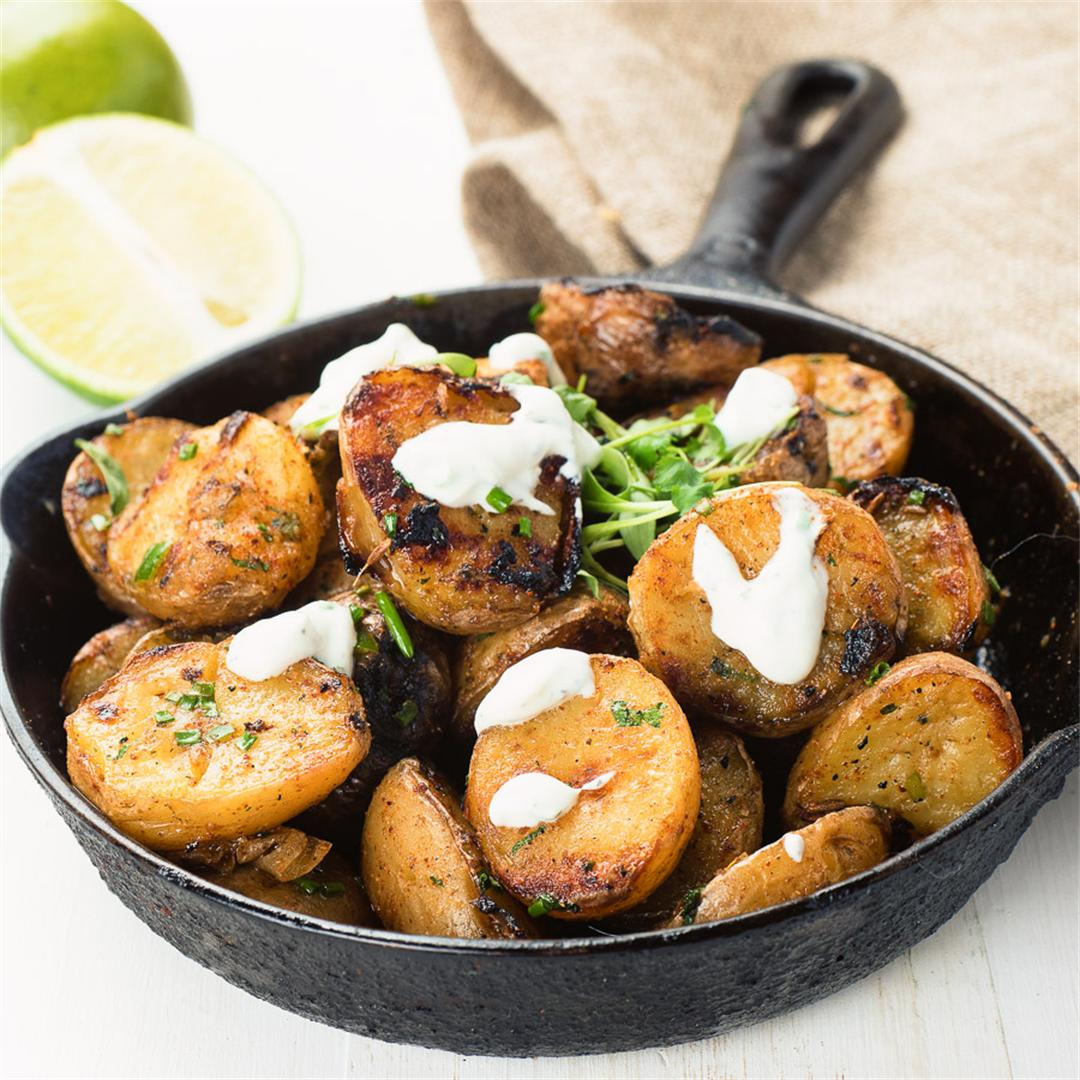 grilled indian spiced potatoes