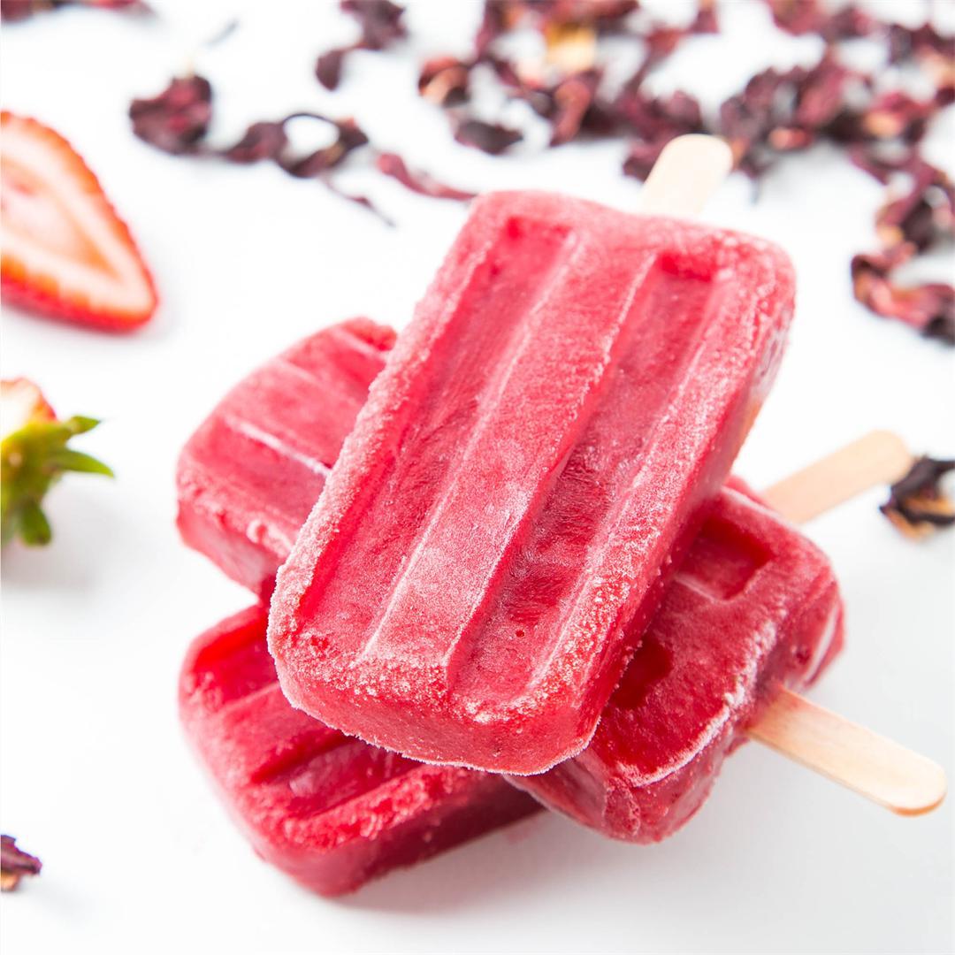 Strawberry Hibiscus Ice Pops