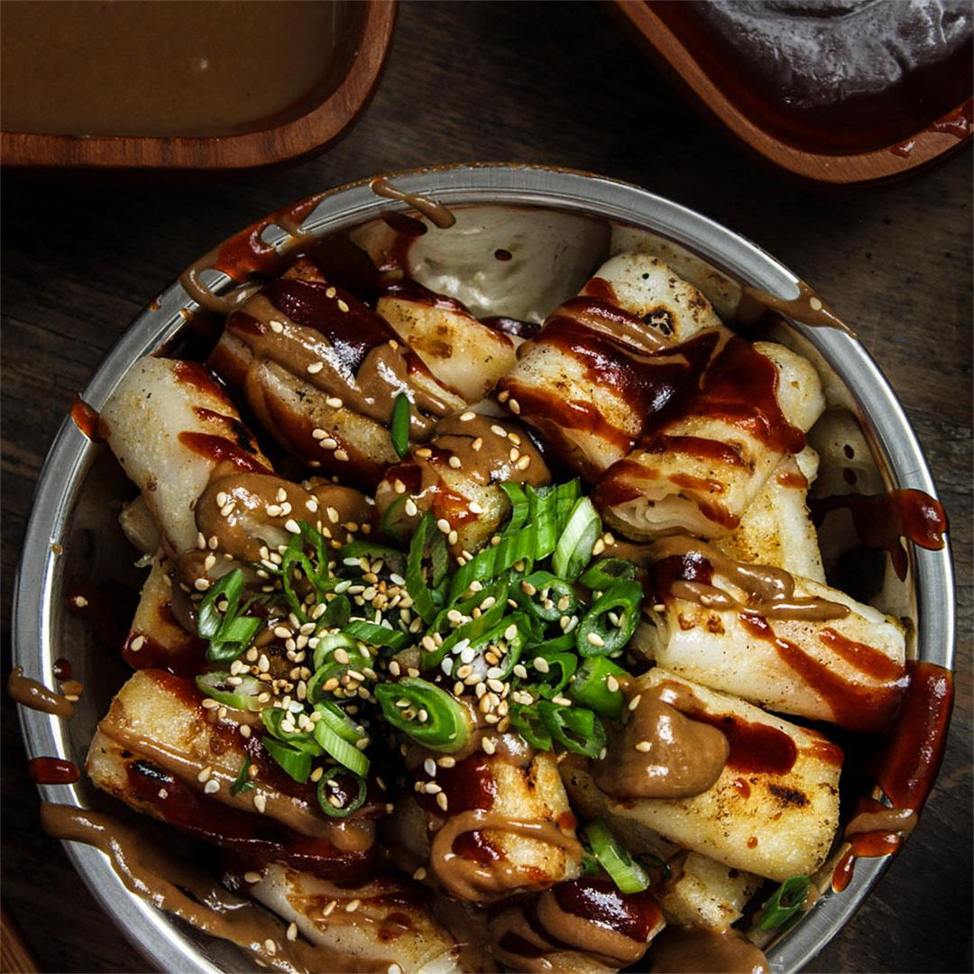 Crispy Rice Noodle Rolls + Spicy Hoisin and Maple Sesame Sauce