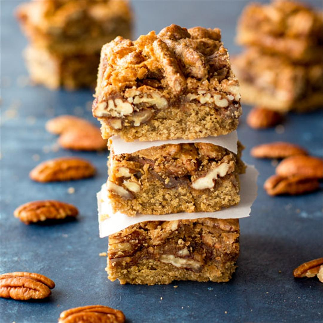 Pecan Pie Bars with Oatmeal Crust
