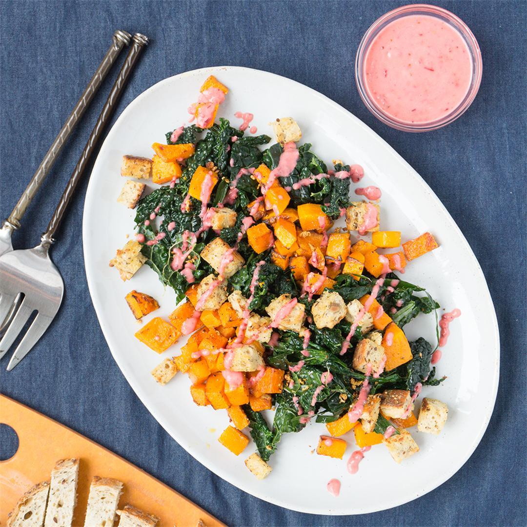 Butternut Squash Salad with Cranberry Pear Vinaigrette