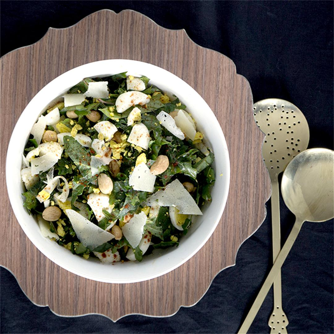 Spanish Style Kale Salad with Manchego + Marcona Almonds