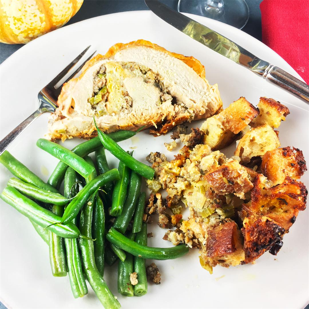 Roasted Stuffed Turkey Breast - ideal for Thanksgiving for 2-4!