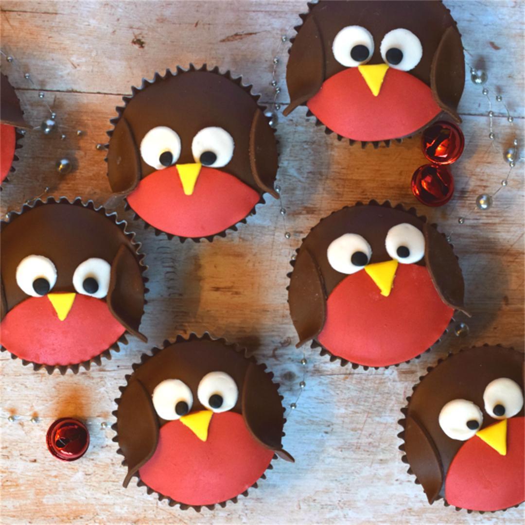 Christmas Robin Cupcakes