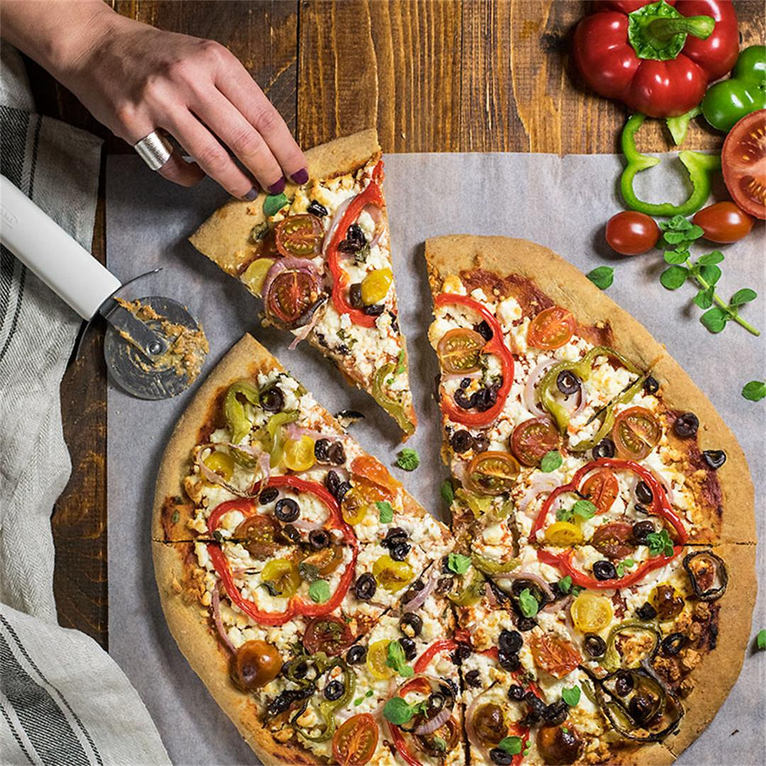Whole wheat Mediterranean pizza