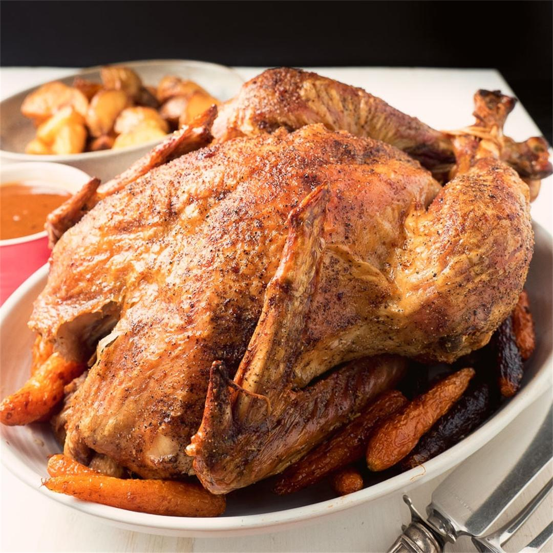 Dry brined turkey - no mess - perfect every time!
