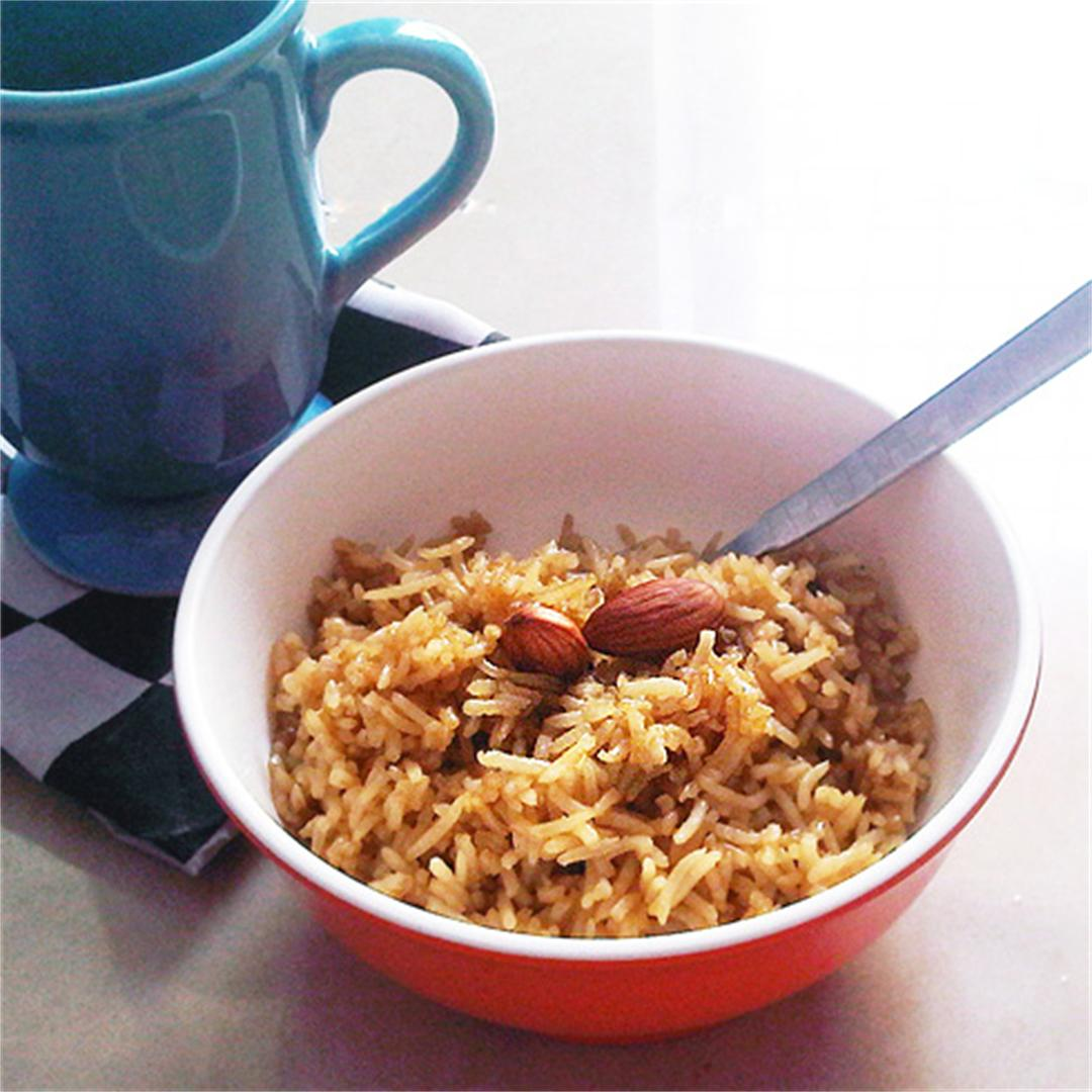 Jaggery Rice with Almonds