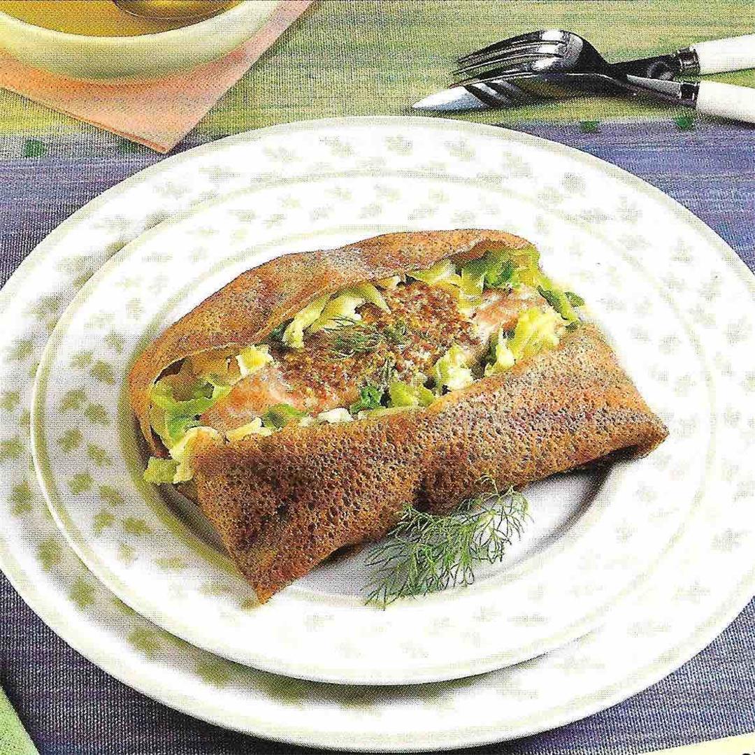 Buckwheat crepe with salmon