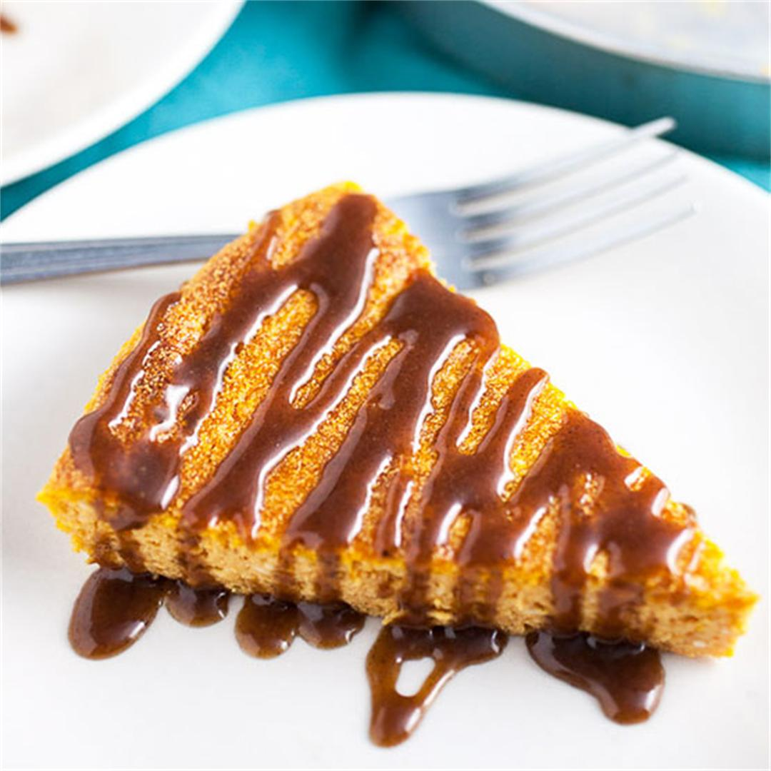 Pumpkin Cheesecake with Cinnamon Caramel Sauce