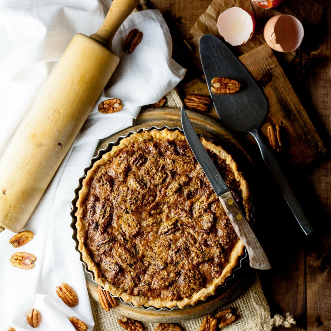 A sweet, rich and caramelly pecan pie.