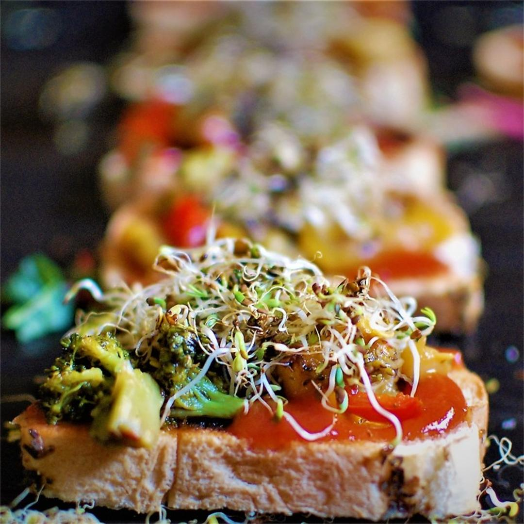 Vegan Bruschetta with Alfalfa sprouts and stir-fry vegetables