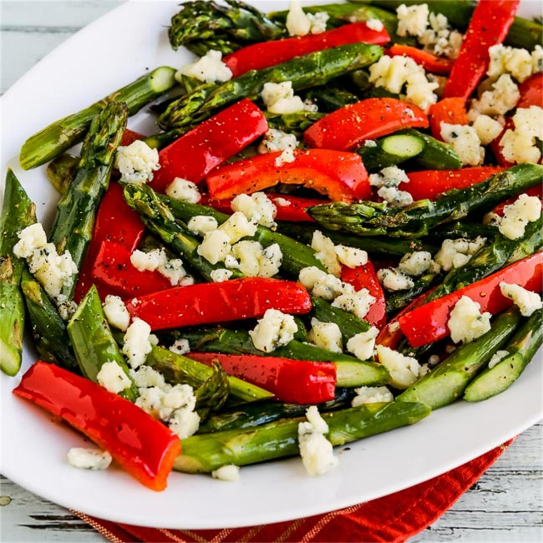 Holiday Roasted Asparagus with Red Pepper and Gorgonzola