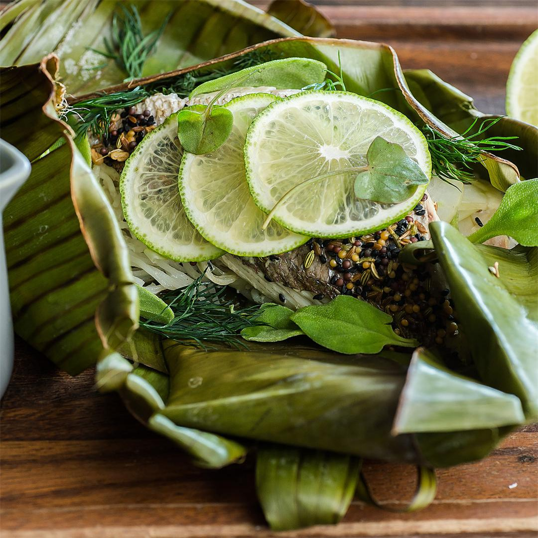 Pink snapper cooked in banana leaf with coconut molee