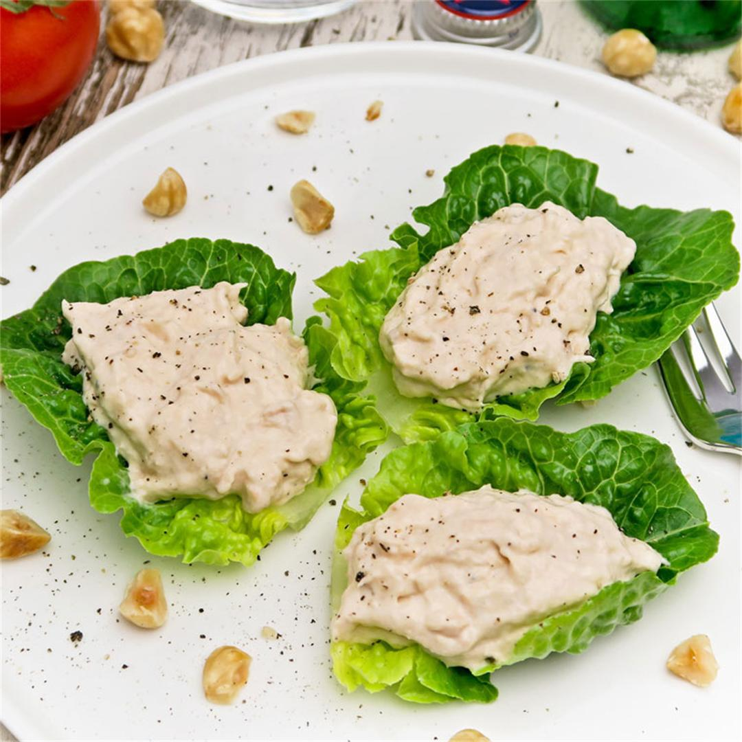 Fresh and crispy lettuce wraps with creamy salmon mousse