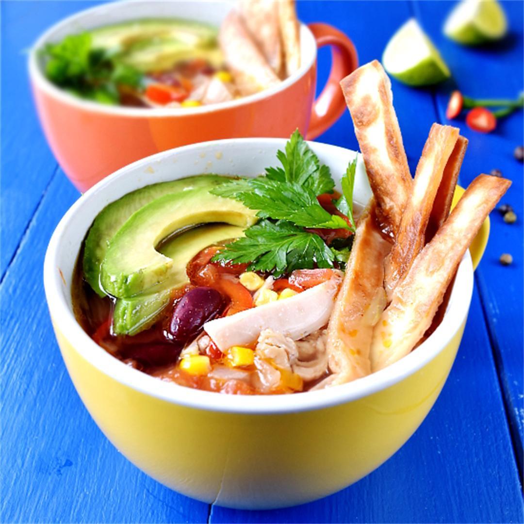 Mexican tortilla soup - best chicken tortilla soup