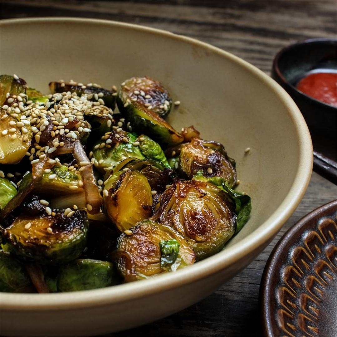 Honey Glazed Pan Fried Brussel Sprouts